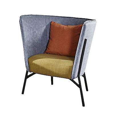 品家居 瑟威特皮革&亞麻布沙發椅單人座(二色可選)-75x71x87cm免組