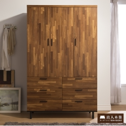 日本直人木業 Hardwood工業生活120cm雙門衣櫃(120x54x