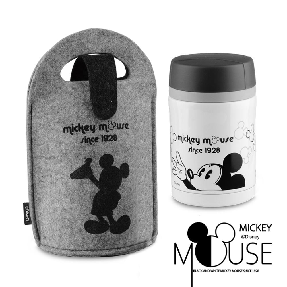 迪士尼Disney 米奇黑白經典提袋#304不鏽鋼超真空燜燒罐450ml(8H)