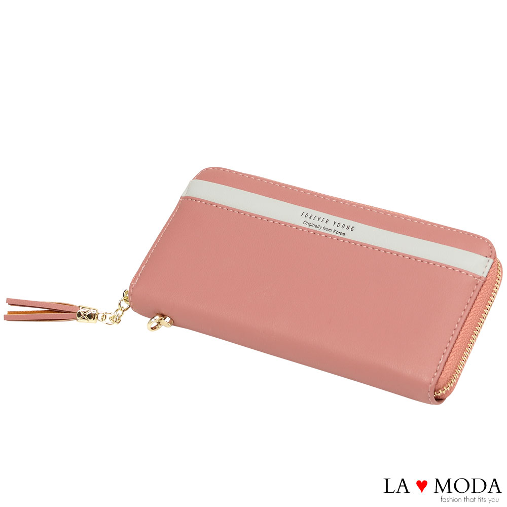 La Moda 柔軟皮質大容量流蘇綴飾多卡位拉鍊長夾手機包(粉)