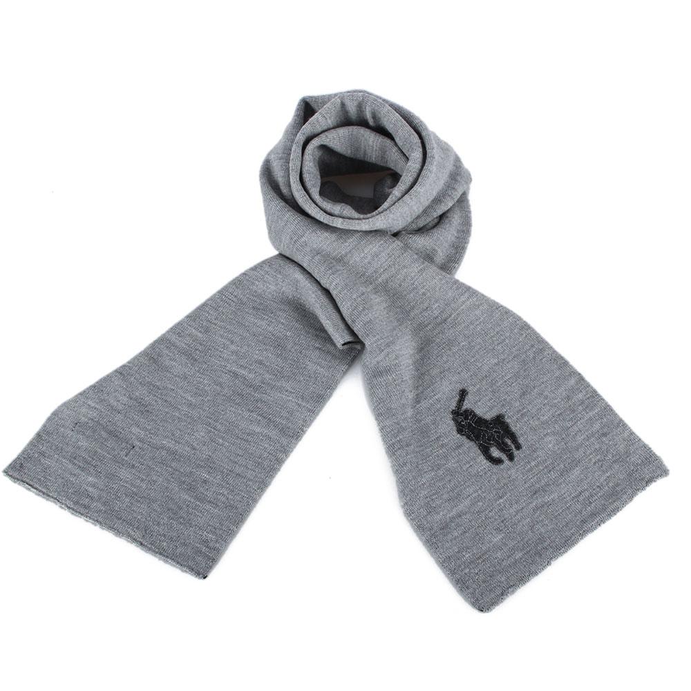 RALPH LAUREN POLO 大馬LOGO素面針織羊毛圍巾-灰黑色GUCCI