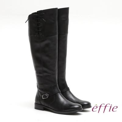 effie 城市漫遊 全真皮側邊綁帶低跟長靴 黑
