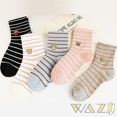 Wazi-條紋小熊鬆口中筒襪 (1組五入)