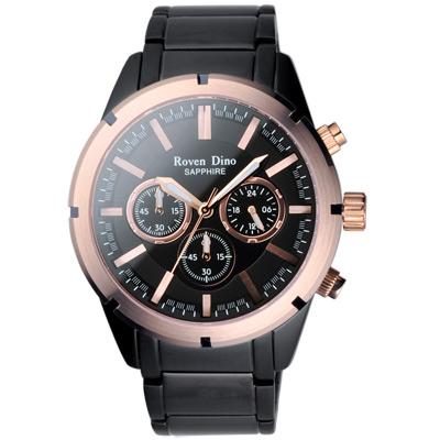 Roven Dino羅梵迪諾 鋼鐵戰記三眼計時腕錶-黑金/44mm