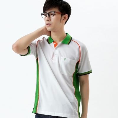 【遊遍天下】MIT台灣製男款吸濕排汗抗UV機能POLO衫S083白/草綠