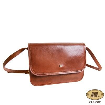 SOBDEALL 沙伯迪澳 - 真皮斜背包 方型設計(中) 磁扣 可調式背帶 經典咖啡