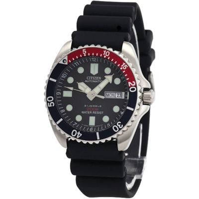 CITIZEN-星辰-經典膠帶潛水機械錶-黑-42