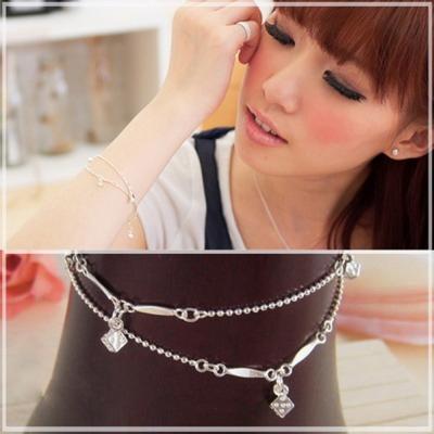 【維克維娜】俏皮趣味。精巧骰子造型雙細珠鍊 925純銀手鍊
