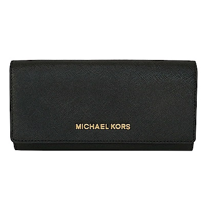 MICHAEL KORS JET SET立體飾牌防刮真皮雙摺長夾(黑色金字)