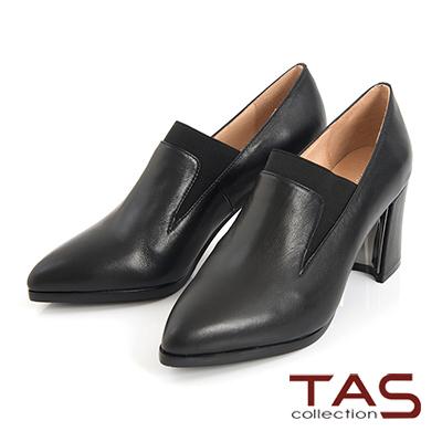 TAS牛皮彈力布拼接尖頭高跟鞋-時尚黑