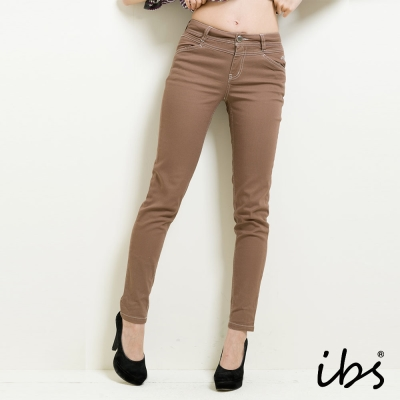 IBS 簡約隨性風窄管休閒褲-咖啡色-女