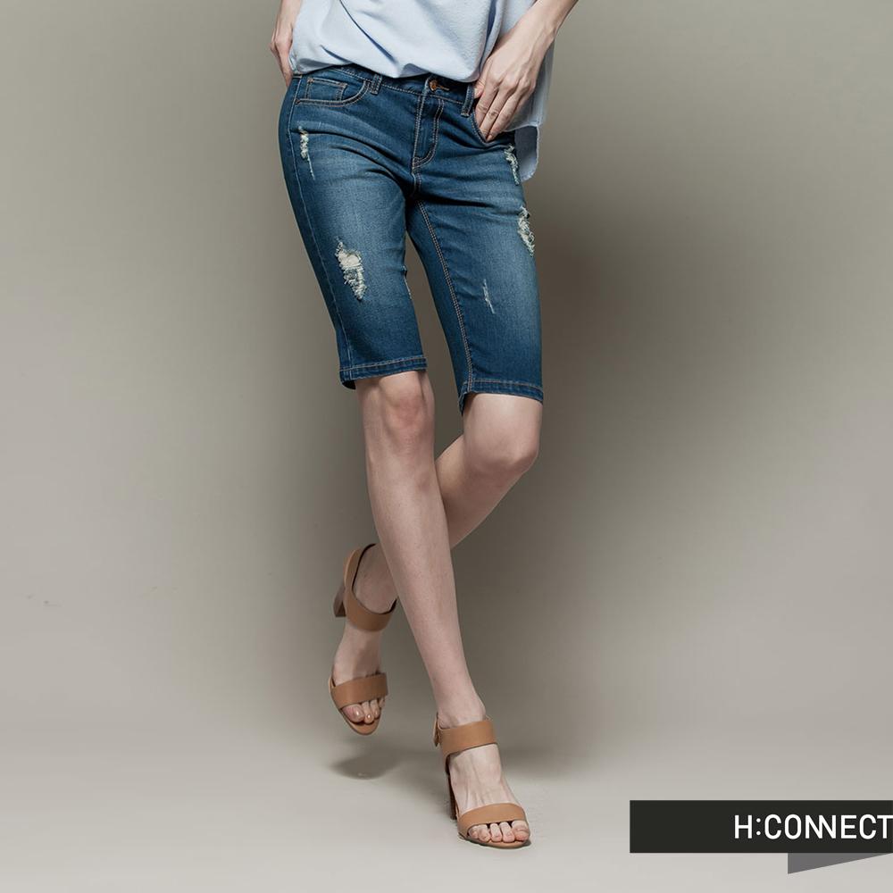 H:CONNECT 韓國品牌 女裝 - 修身刷破牛仔短褲 - 藍(快)