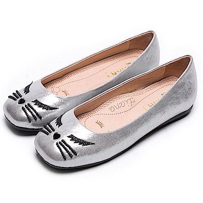DIANA 漫步雲端瞇眼款--閉眼性感貓咪平底娃娃鞋-珠光銀