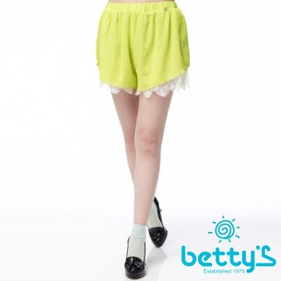 betty-s貝蒂思-雪紡蕾絲腰際鬆緊抓褶褲裙-螢光綠