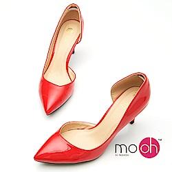 mo.oh -漆皮尖頭鏤空紅色高跟鞋-紅色