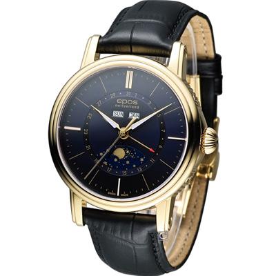 epos月相多功能典藏機械腕錶-藍x金框/42mm
