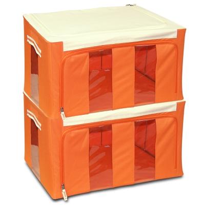 WallyFun 第三代-雙U摺疊收納箱 -橘色66L (超值2入) ~超強荷重200kg