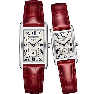 LONGINES DolceVita 獨立小秒針石英對錶-銀x紅/26+21mm