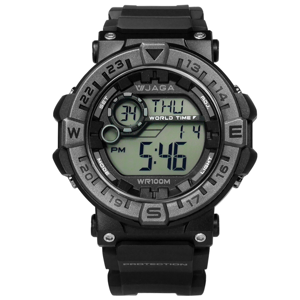 JAGA 捷卡 活力電子運動計時鬧鈴防水橡膠手錶-黑色/49mm
