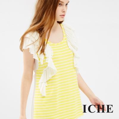 ICHE 衣哲 黃白條紋接造型上衣