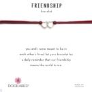 Dogeared Friendship 銀色愛心手鍊 迷你雙墜 紅X紫 防水繩衝浪手鍊