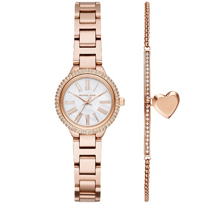 MICHAEL KORS璀璨晶鑽手錶手鍊套組(MK3858)-玫瑰金/25mm