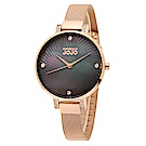 NATURALLY JOJO 祕境炫彩不鏽鋼米蘭腕錶-黑x玫瑰金/33mm