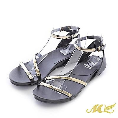 MK-台灣手作-斜口修飾金屬繞踝低跟楔型涼鞋-黑色