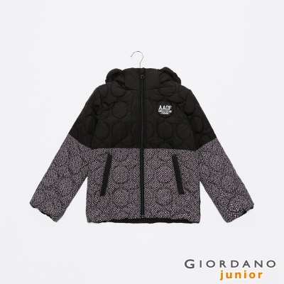 GIORDANO 可愛造型印花可拆帽舖棉外套 - 09 標誌黑