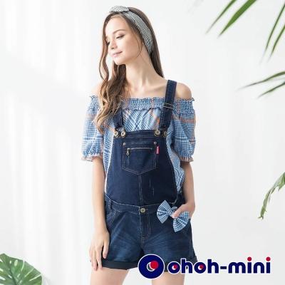 ohoh-mini 孕婦裝 俏麗Y字可拆式牛仔吊帶短褲-2色