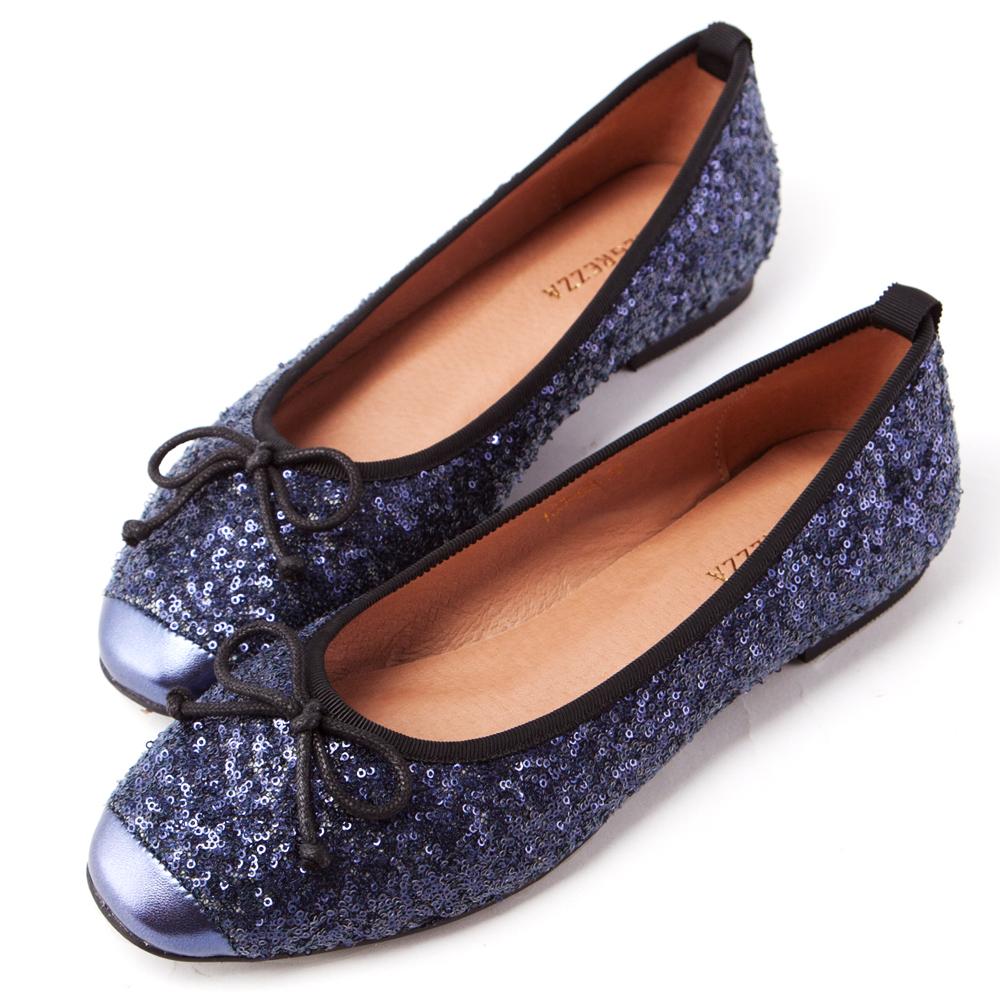 ALLEGREZZA‧全真皮‧閃閃亮片圓方頭蝴蝶結繫繩平底娃娃鞋 藍