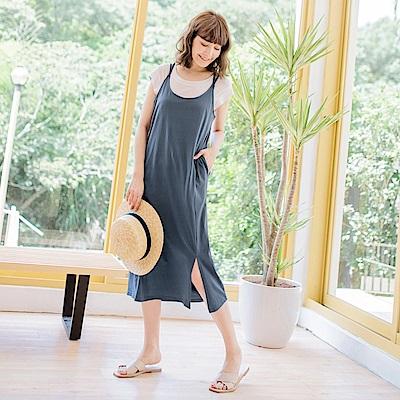 純色高含棉美背設計側襬小開衩長洋裝-OB大尺碼