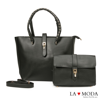La Moda 經典熱銷~沖孔手把旋鈕大容量子母包托特包兩件組(黑)