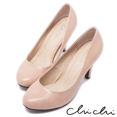 Chichi法式雅致-經典素面圓頭高跟鞋-粉色