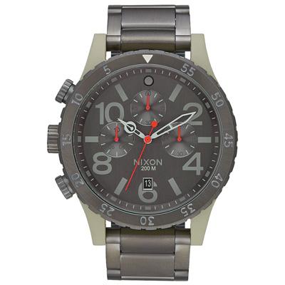 NIXON 48-20 CHRONO 潮流重擊運動腕錶-米灰框x深灰/48mm