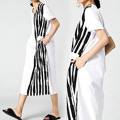 條紋拼接雙袋襯衫V領洋裝-(共二色)Andstyle