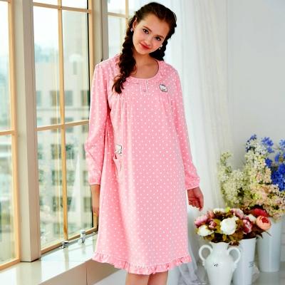 睡衣 精梳棉柔針織 長袖連身睡衣(65208)粉色 蕾妮塔塔