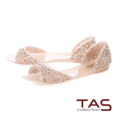 TAS滿版水鑽魚口後包涼鞋-透膚粉