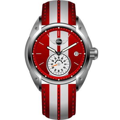 MINI Swiss Watches  經典賽車風格腕錶-紅/45mm