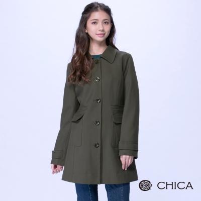 CHICA 簡約歐風兩側大口袋設計大衣(2色)