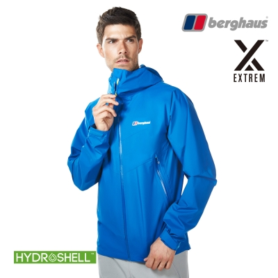 【Berghaus貝豪斯】男款HS防水透氣連帽外套H22MV5潛水藍
