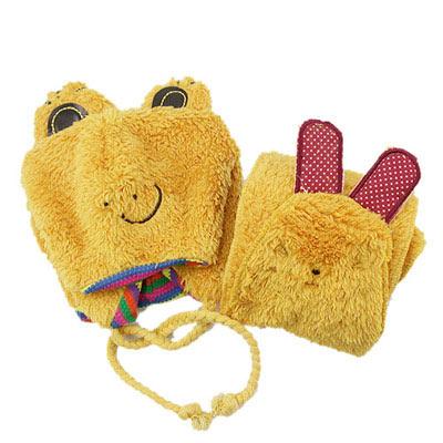 iSFun-青蛙兔兔-兒童帽-圍巾兩件組-黃