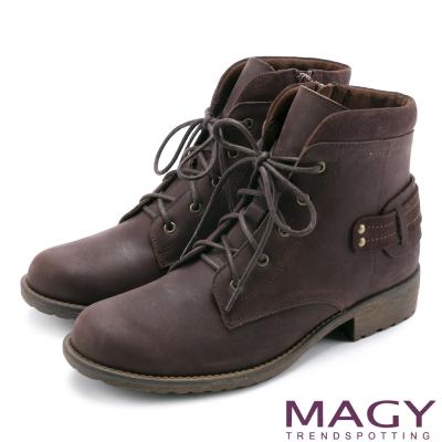 MAGY 街頭率性簡約 嚴選牛皮帥氣綁帶短靴-咖啡