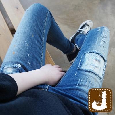 正韓-補丁漆點街頭風窄管褲-藍色-100-Kore
