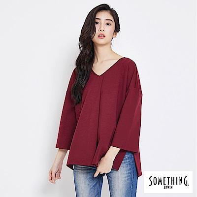 SOMETHING V領休閒剪接T恤-女-暗紅
