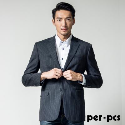 per-pcs 商務質男毛料經典素面款西裝外套 黑條(708317)