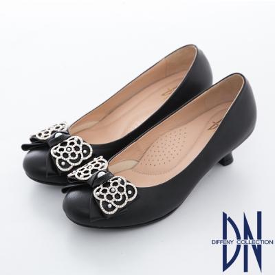 DN-精緻手工-MIT羊皮鑲鑽蝴蝶結低跟鞋-黑