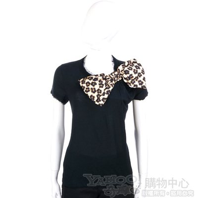 VALENTINO 黑色豹紋蝴蝶結飾短袖上衣