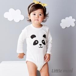 Little moni 純棉家居系列動物印圖包屁衣 白色