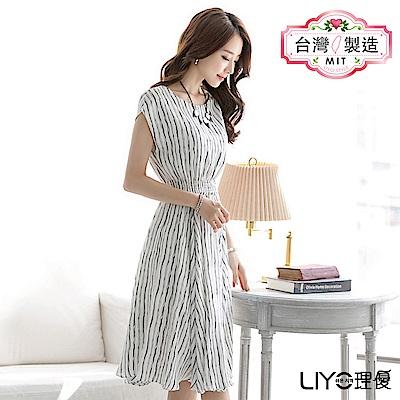 LIYO理優MIT洋裝條紋雪紡長洋裝(白)